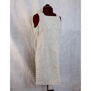 Van Heusen Linen Midi Tank Zip Embroidered Dress !